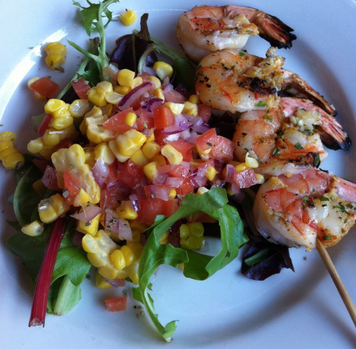 Grilled Shrimp Kabobs and Corn Tomato Salad