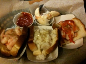 lobster, shrimp and crab rolls