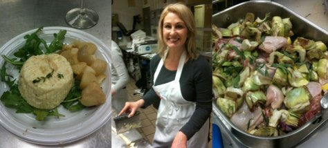 Pecorino Flan, Kristen making Gnocchi, Artichokes and Lemon