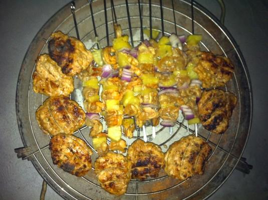 Tasty Chicken Burgers and Shrimp Kabobs