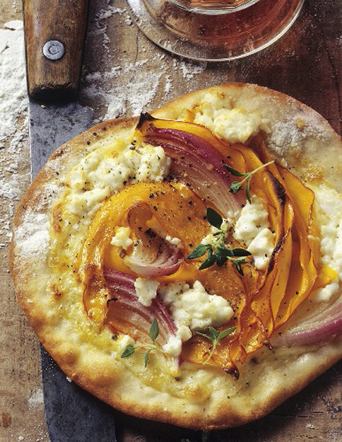 pumpkin onion feta tarte flambee